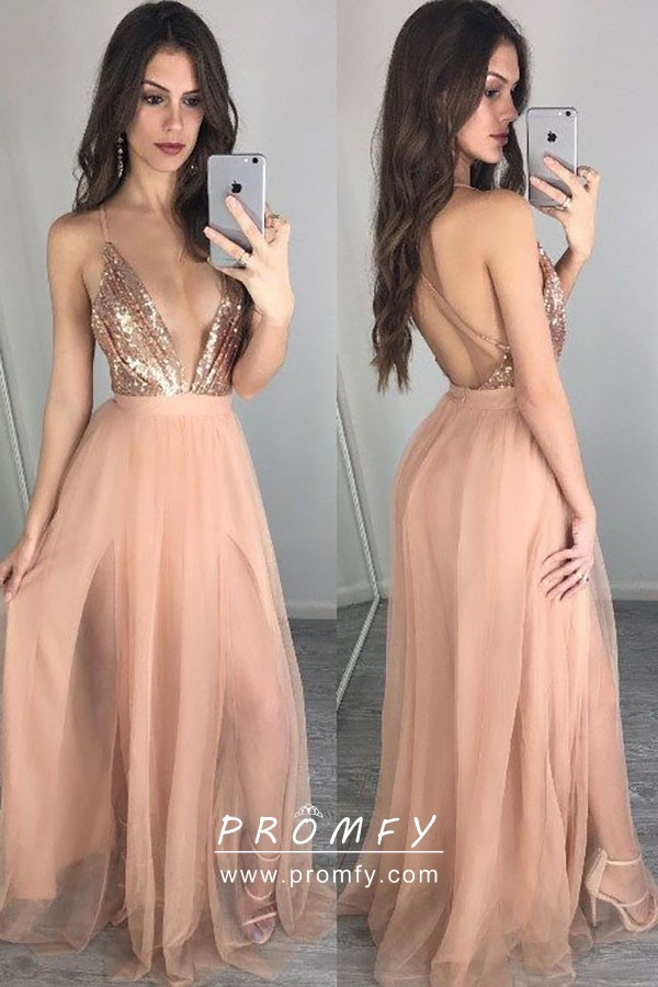 Sexy Gold Sequin and Nude Tulle Plunging V Neckline Double