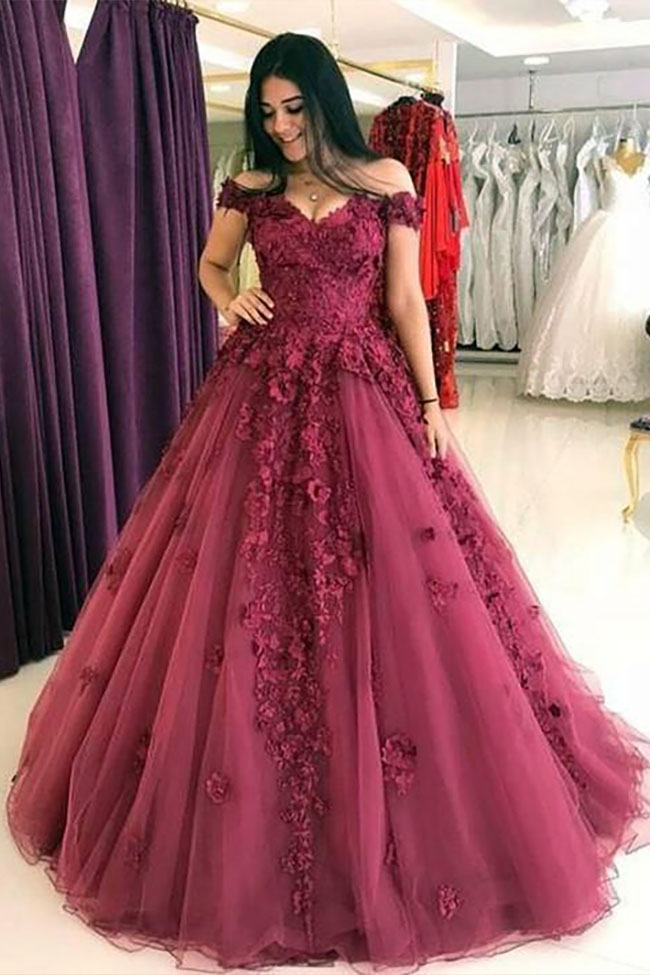 Open-Back Lace-Applique Bodice Prom Dress - PromGirl  |Formal Ball Dresses With Lace