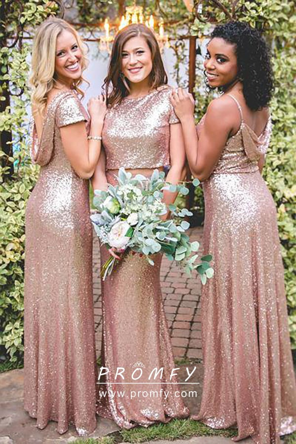 645d04c882d Sparkly Rose Gold Sequin Mismatched A-line Long Bridesmaid Dresses ...
