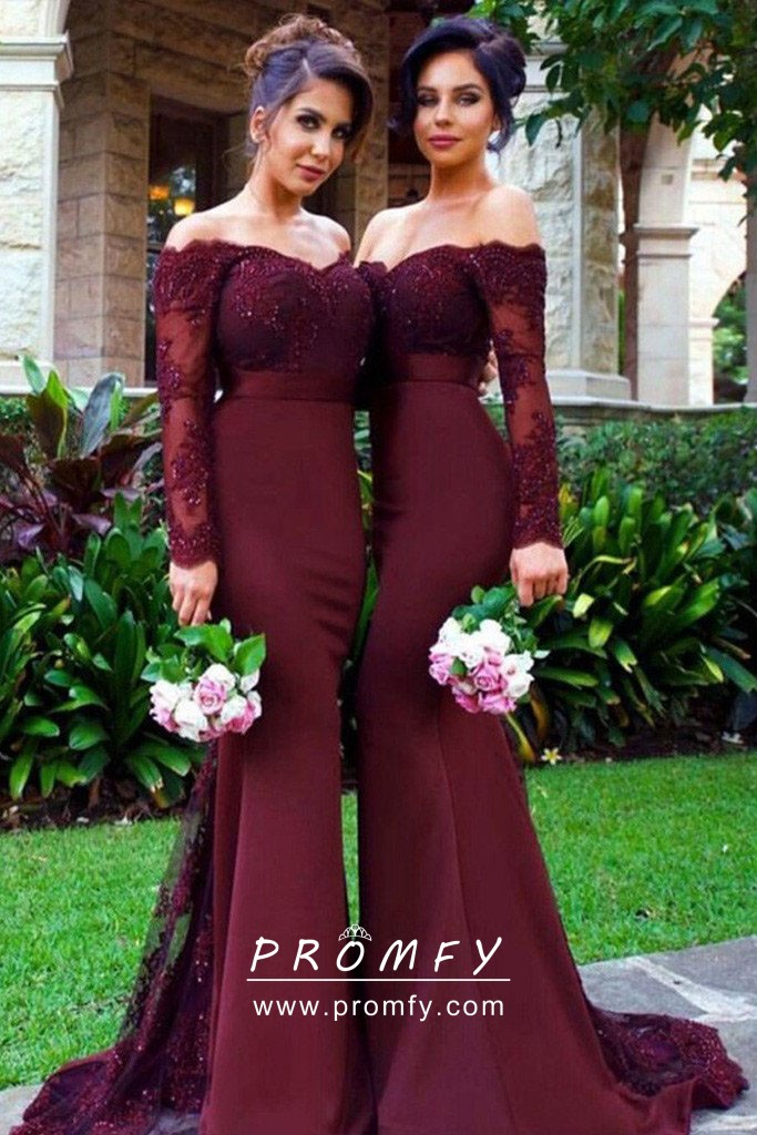 ce678a7fdcb maroon lace and spandex off shoulder long sleeve mermaid formal dresses