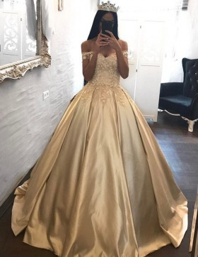 d354fe8445f Beautiful Appliqued Gold Champagne Satin Ball Gown