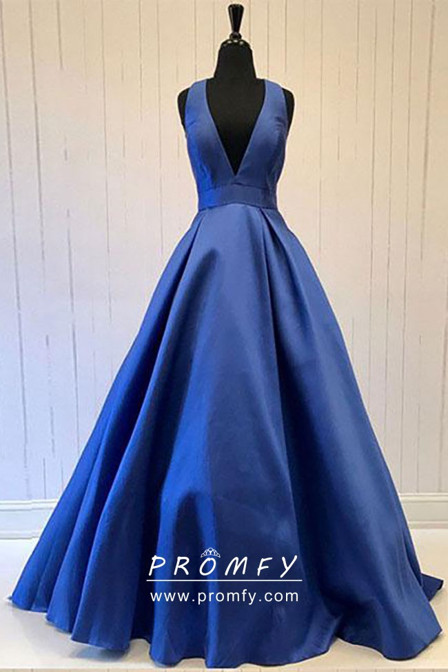 Simple Sleeveless Navy Blue Satin Plunging V Neckline Prom