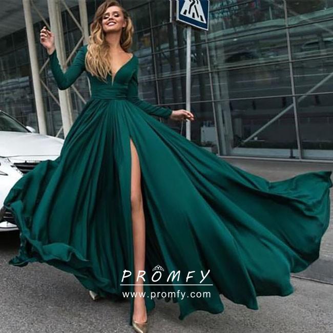 Long Sleeve Slit Prom Dress