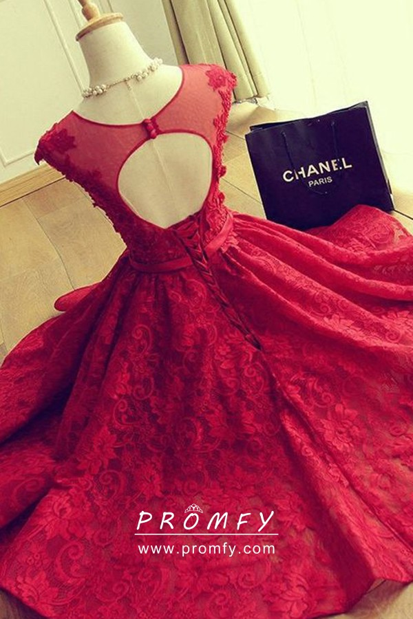 a2a11635607 Cute Red Lace Illusion Neckline Cap Sleeve Short Homecoming Dress ...