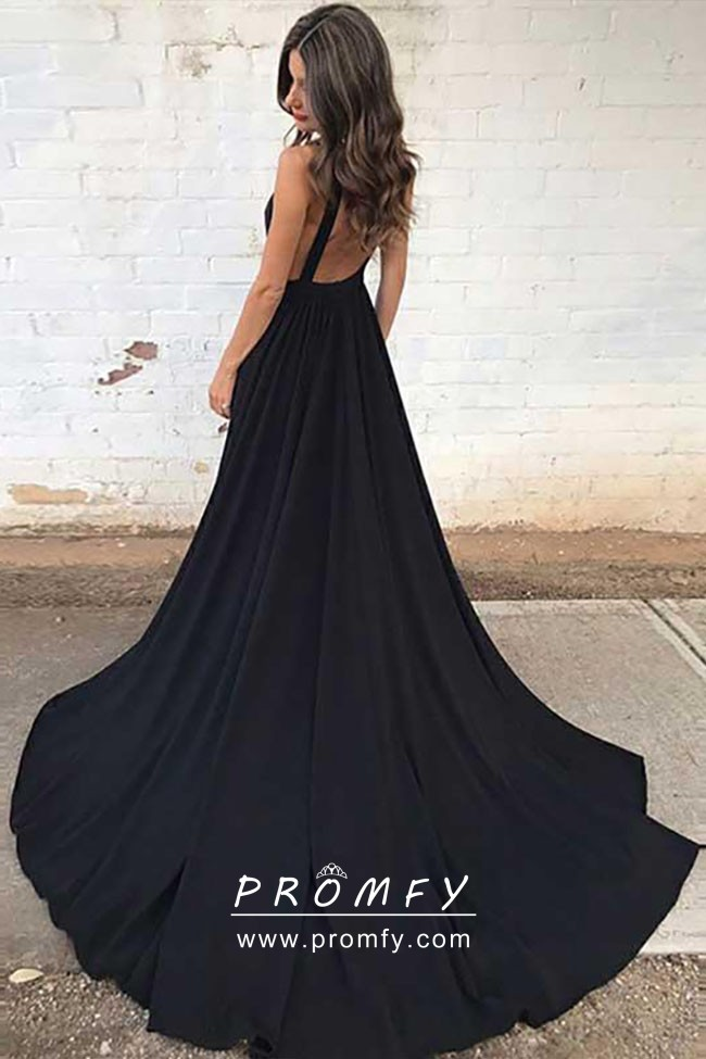 d7cb2b774132 Simply Black Satin Plunging Neckline Chapel Train Formal Dress with ...