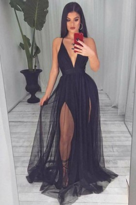 1c7be2e4 sheer black tulle overlay double slit plunging neckline open back prom dress