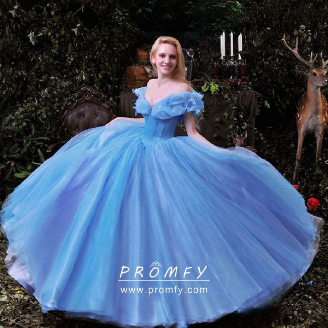 Ice Blue Satin And Organza Cinderella Ball Gown Promfy