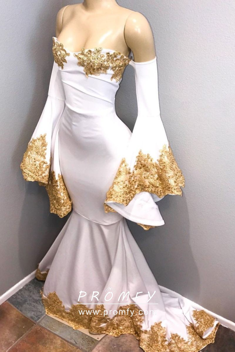 Gold Lace Appliqued White Spandex Long Sleeve Mermaid
