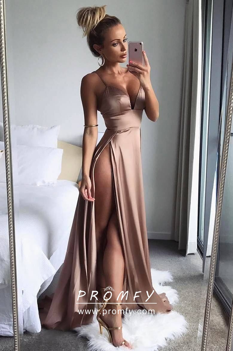 316108c07ca Sexy Bronze Brown Double-slit Satin Prom Dress with Spaghetti Straps ...