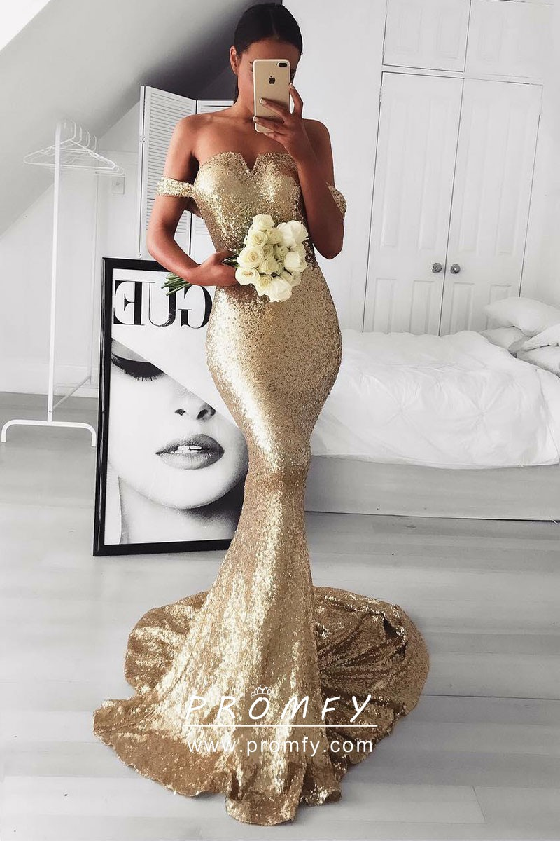 7684518f28b Sparkly gold sequin off the shoulder mermaid long prom dress with court  train