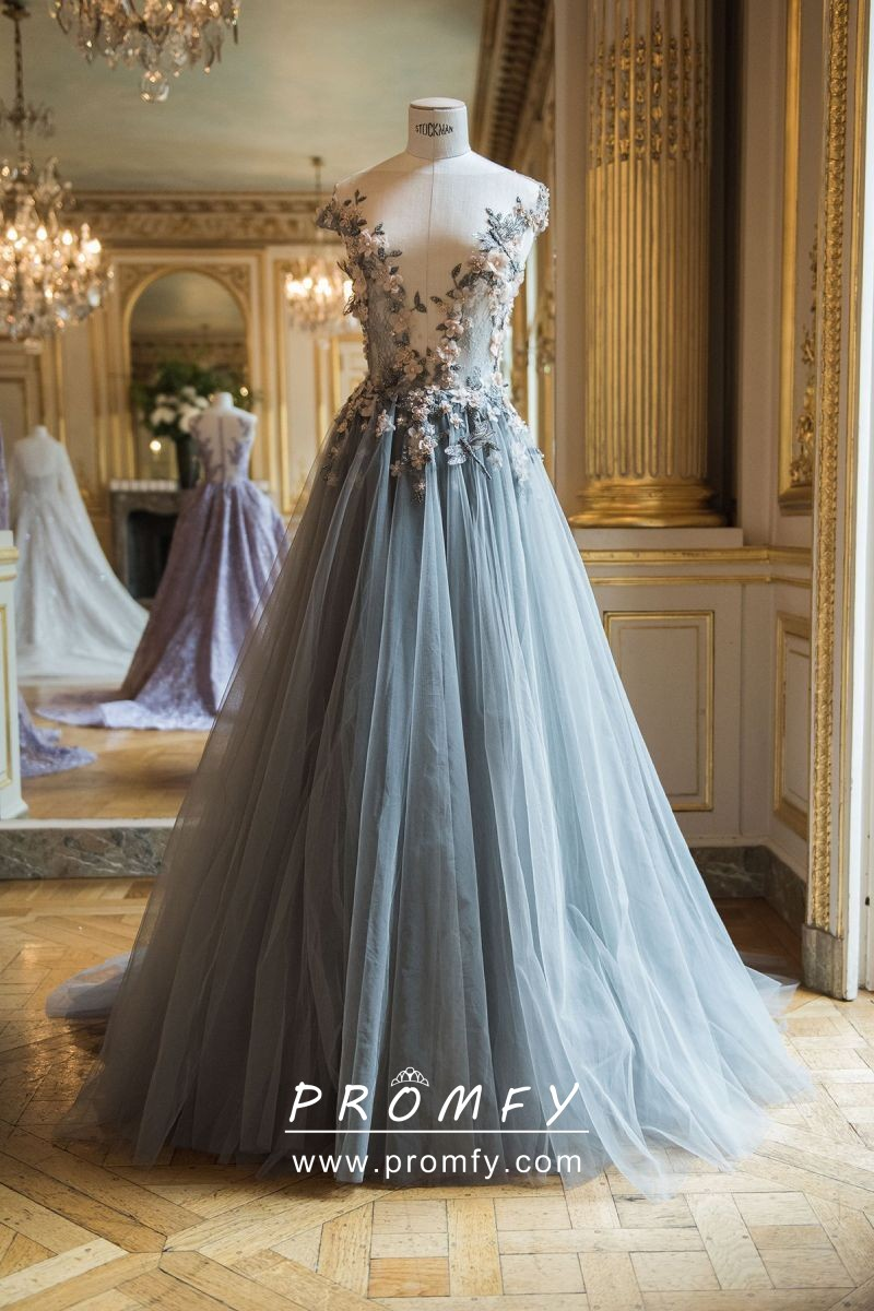 063b3aa81b7 Charming 3D flowers illusion plunging neckline steel blue tulle formal dress