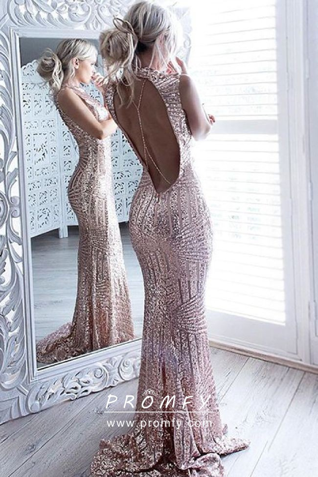 24475ab887f Sparkly striped pattern sequin open back crew neck mermaid long prom dress