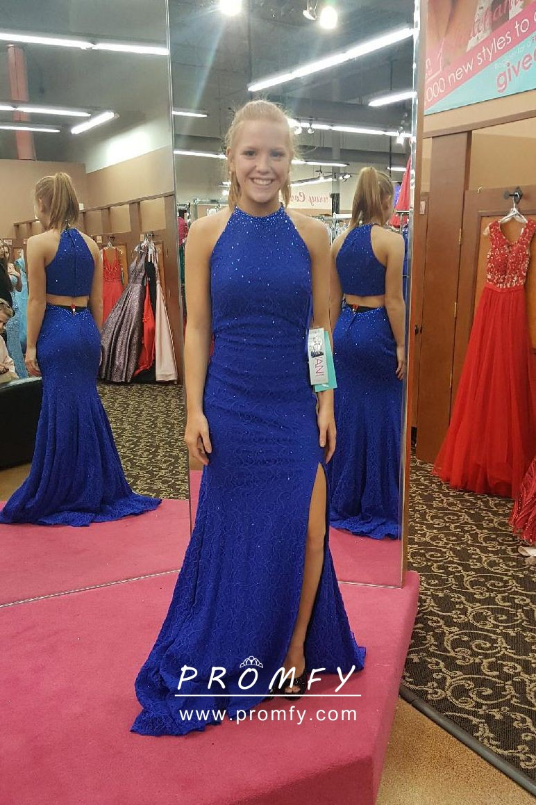 Beaded Royal Blue Crew Neck Two Piece Fit And Flare Side