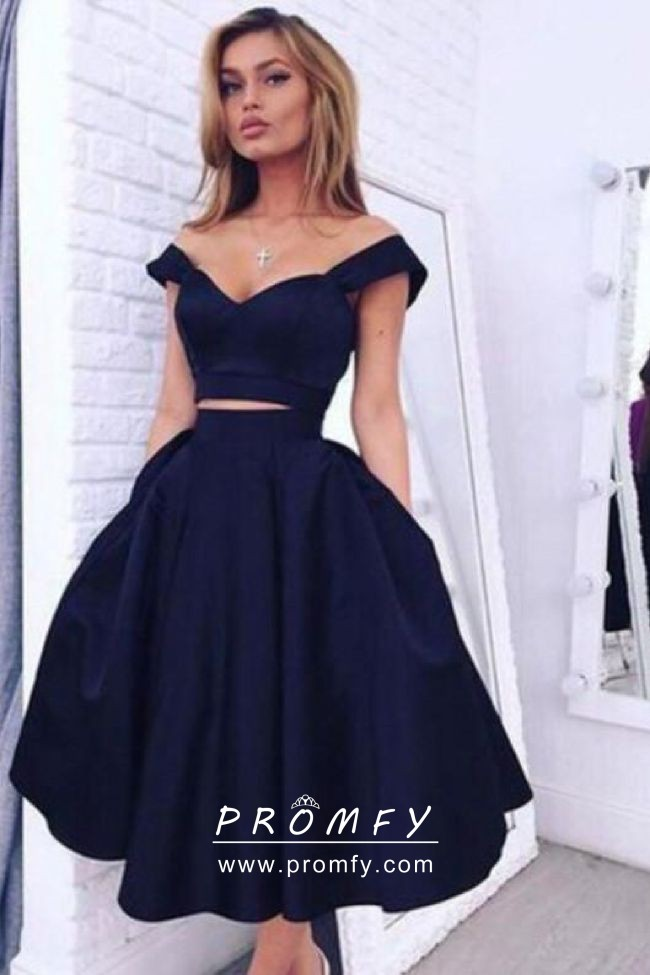 Glamorous Navy Blue Off,the,shoulder Two,piece Cocktail Homecoming Dress