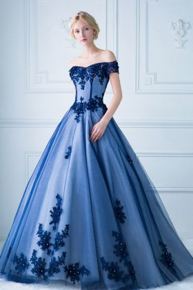 d46eb627c5926 Beaded lace appliqued off the shoulder cobalt blue tulle overlay ball gown