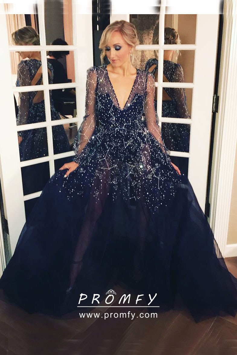 f5d9a18094b starry beaded space navy sheer tulle long sleeve unique long prom dress
