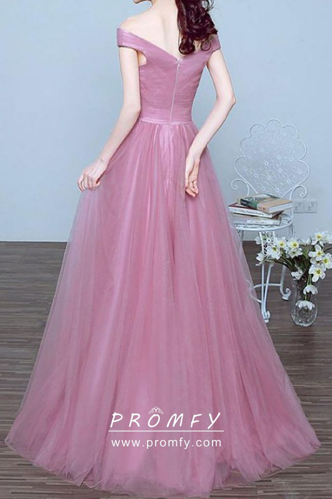 4bf880fd9d51 Princess Candy Pink Tulle Off-the-shoulder A-line Formal Prom Dress ...