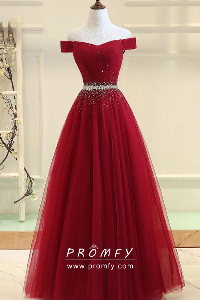 14481c77baf3 Bedazzled beaded ruby red tulle off the shoulder long formal prom dress