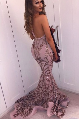 Sparkly sexy rose gold sequin backless halter V neck long prom dress 5d9f39c6e269