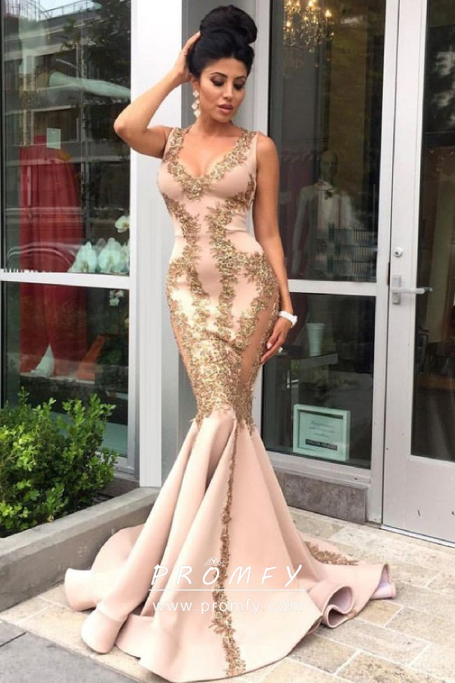 09e05d1a9ae Gorgeous gold lace appliqued blush nude spandex mermaid long formal dress