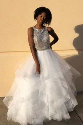 31f6e183bbe8 Sparkly beaded bateau neckline tiered white tulle ball gown prom dress