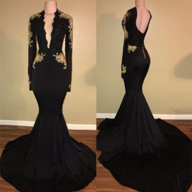 b27bb0e5893 Gold lace appliqued black long sleeve plunging V neckline formal dress