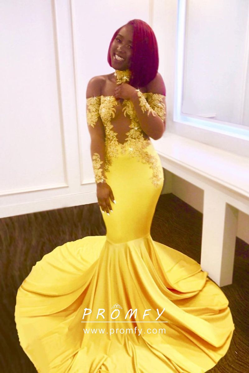 Lace Appliqued Yellow Satin Trumpet Long Prom Dress
