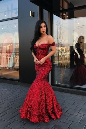92fcd68569514 Sparkly bright red sequin off the shoulder mermaid long formal dress