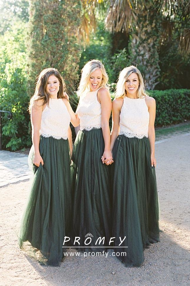 Ivory Lace And Dusty Green Tulle Bridesmaid Dresses