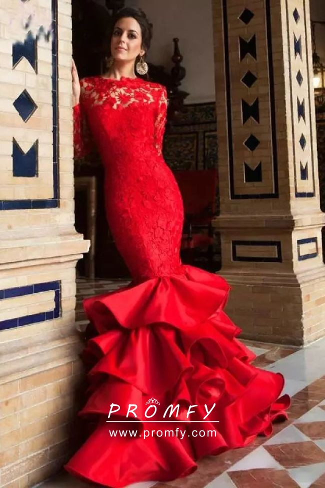 bee1ef04b4a3 Stunning Red Lace and Satin Trumpet Long Sleeve Designer Formal ...