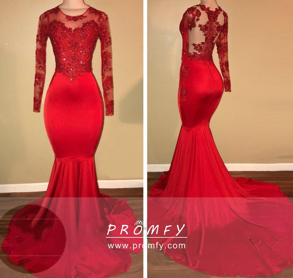 nuova versione shopping stile squisito Beaded Red Lace Long Sleeve Mermaid Formal Dress