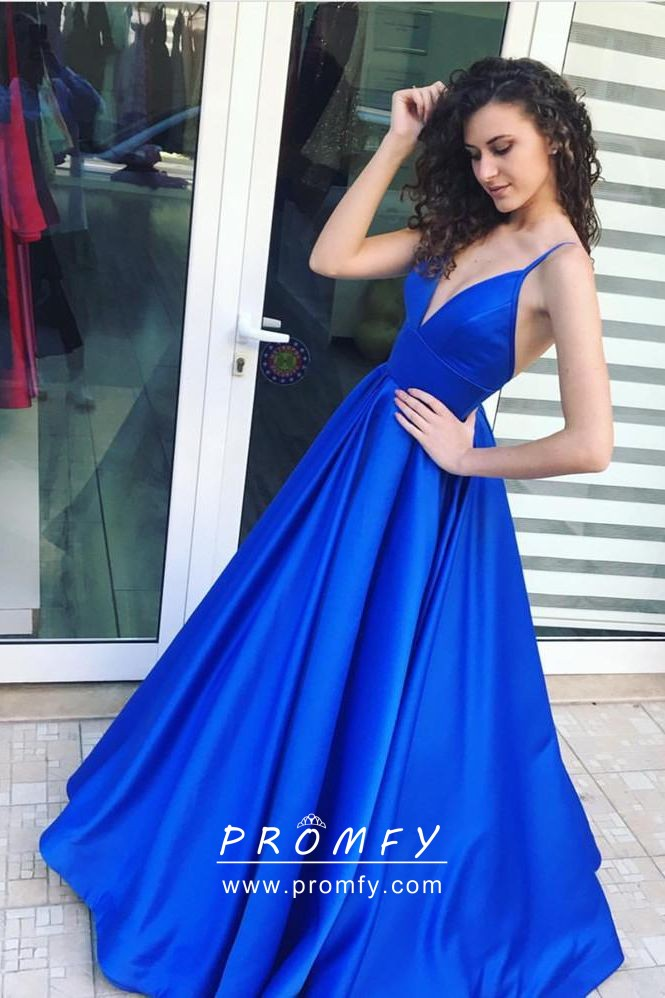 be10b592999 Simple yet sexy royal blue satin deep V neck puffy A line military ball  dress