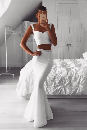 d04d1eb4a813d Beaded wide strap white spandex two piece mermaid long designer formal dress