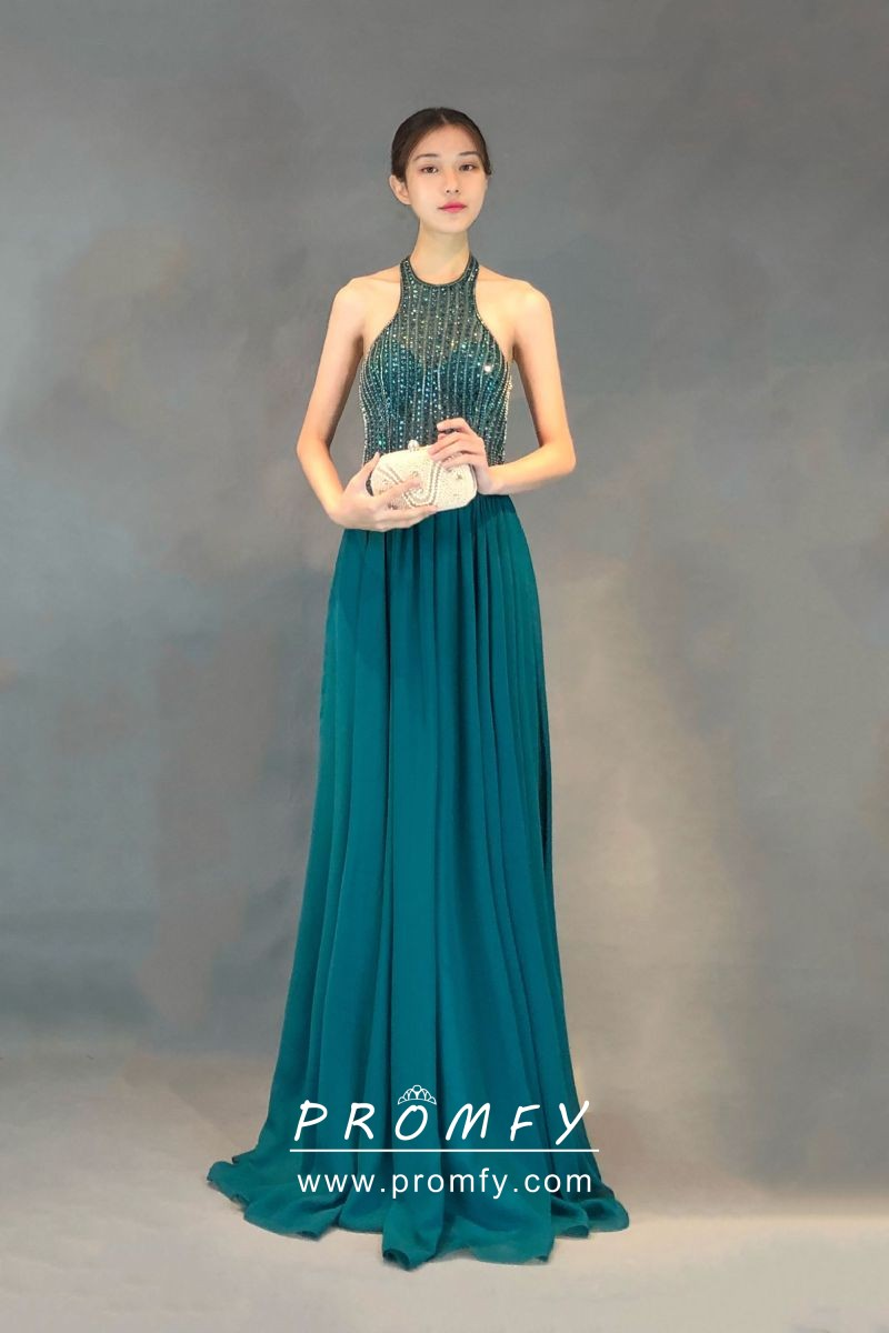 8e1d971d7f320 Sparkly beading teal chiffon crew halter neck long wedding guest prom dress