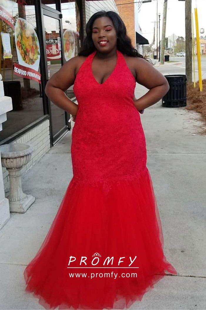 Pretty Red Lace and Tulle Halter V-neck Trumpet Plus Size Prom Dress ...