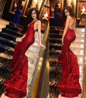 Amazing red striped sequin open back plunging V neck mermaid formal dress 73dd25439
