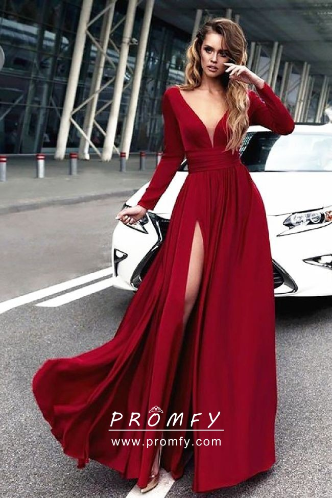 Crimson Red Long Sleeve Slit A-line Long