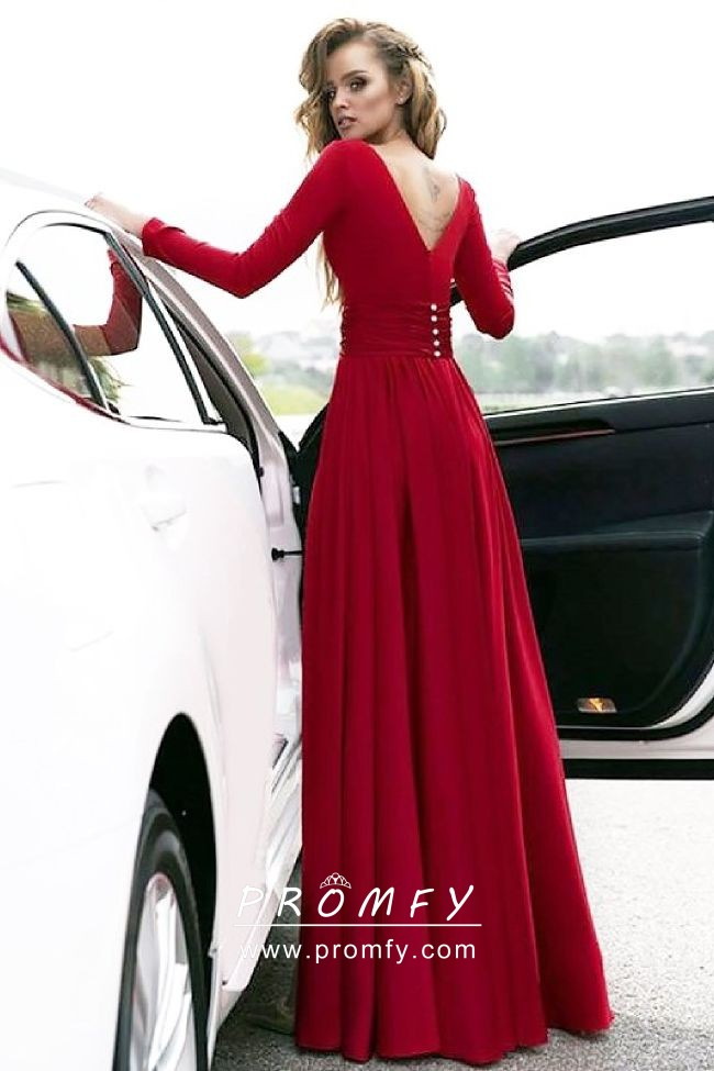 deed66763d Crimson Red Satin Chiffon Long Sleeve Side Slit A-line Long Prom ...