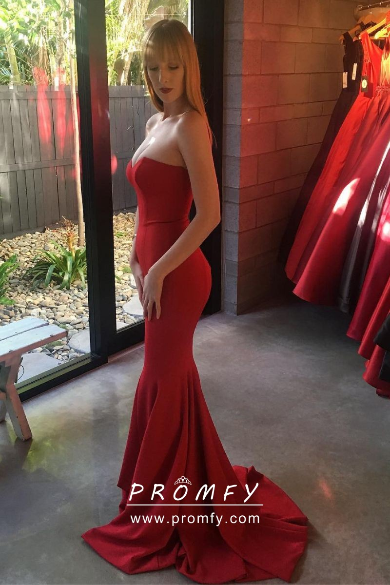 Elegant Strapless Sweetheart Red Spandex Mermaid Long