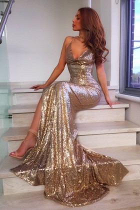 d75abfecfb Sparkly gold sequin V neck spaghetti straps slit mermaid elegant prom dress