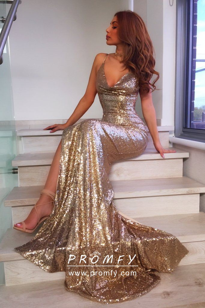 b24ec52f Sparkly gold sequin V neck spaghetti straps slit mermaid elegant prom dress