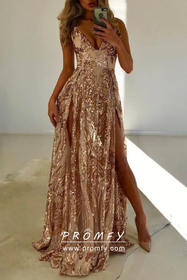 e666c5865bdd Sparkly sexy gold sequin V neck double slit A line long prom party dress