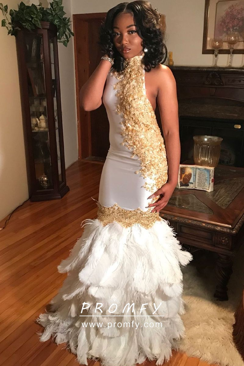 2aa55fdaa645 unique gold lace appliqued high neck white feather mermaid long prom dress