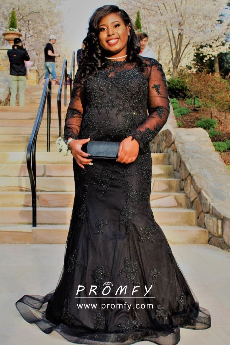 Beaded Black Long Sleeve Mermaid Long Plus Size Prom Formal Dress