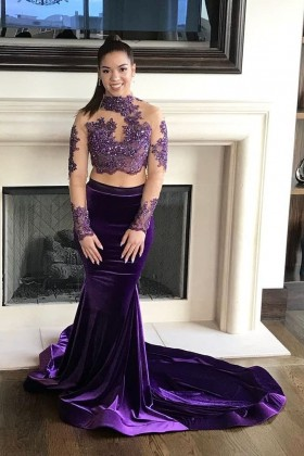 2bd9bde25b58 Beaded purple lace and velvet two piece illusion long sleeve mermaid prom  dress