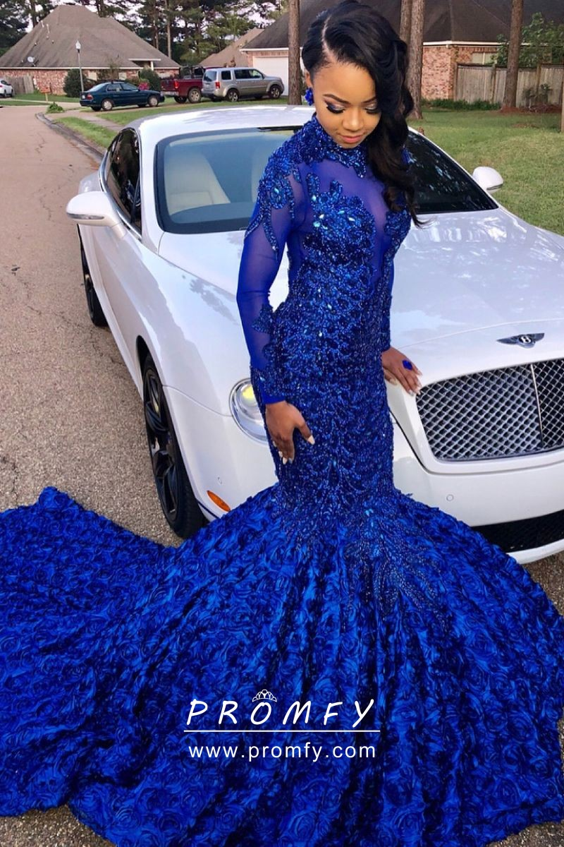 52e44b1cf6090 Sparkly beaded cobalt blue illusion high neck long sleeve 3D rosette prom  dress