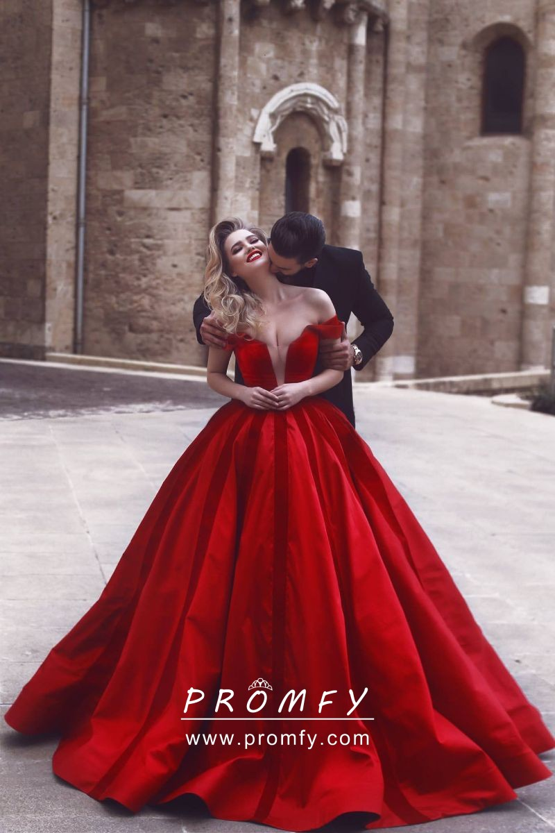 68312c9dcac Beautiful red taffeta off the shoulder floor length ball gown engagement  dress