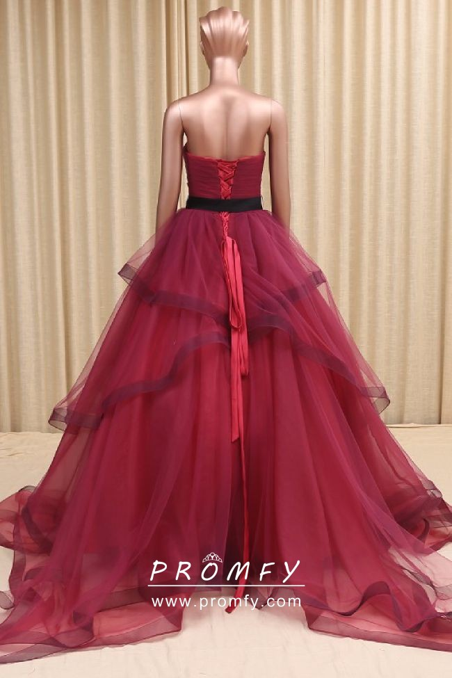 e424b3030a8 Charming Wine Red Tulle Strapless Sweetheart Ball Gown Prom Dress ...