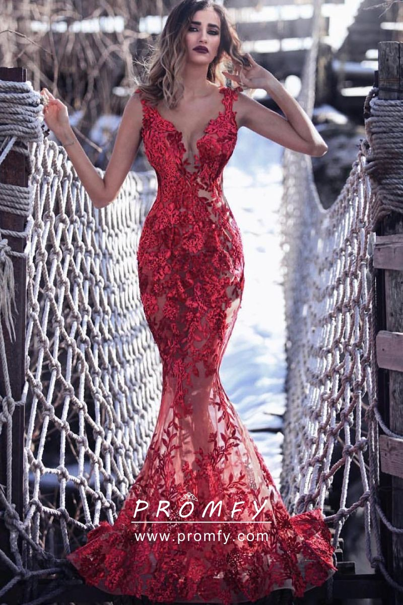 37ce6a9182ff Glamorous See-through Red Lace Mermaid Floor Length Formal Dress ...