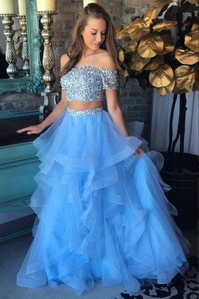 f89fe45b9a Sparkly beaded off the shoulder two piece blue tulle prom dress